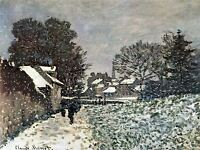 CLAUDE MONET SNOW AT ARGENTEUIL OLD MASTER ART PAINTING PRINT POSTER 607OMA