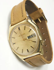 Bulova Accutron 14K Gold Filled Case Vintage Genuine Swiss Leather Band Watch