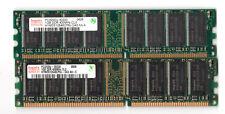 LOT de 2 barrettes HYNIX 1GB DDR400 CL3 soit 2GB PC3200 HYMD512646CP8J-D43