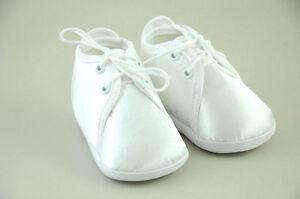 Baby Taufe Schuhe zu Anzug Junge Weiß Satin Taufschuhe Hochzeit Festlich NEU 104