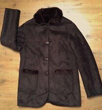 Ladies Super Warm Brown Jacket Winter Coat Plush Fur Lining 100% Cotton Size:L
