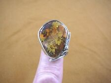 (PR-8.5-3) GREEN AMBER Poland 925 Sterling SILVER pear leaf design RING size 8.5