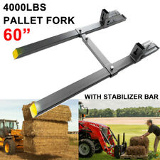60 4000lbs Clamp On Pallet Fork Loader Bucket Skidsteer Tractor With Stabilizer