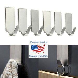 6PCS Self Adhesive Bathroom Wall Door Stainless Steel Holder Hook Hanger Hooks