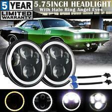 """2x 5.75"""" 5-3/4"""" LED Headlight DRL Halo Angel Eyes Black Sealed Lamp for Plymouth"""