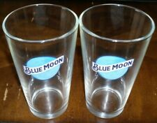 (2) Blue Moon Beer Pint Glasses Collectible Barware New