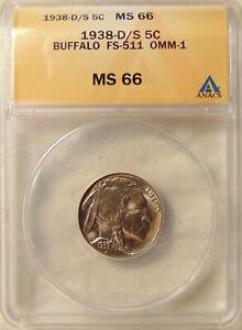 1938-D/S Buffalo Nickel - ANACS MS66 - Pretty Choice GEM BU Coin - FREE SHIPPING