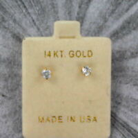 14kt Solid Yellow Gold 2MM Cubic Zirconia Stud Earrings..100% Guaranteed!