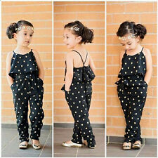 Toddler Baby Girls Strap Romper Jumpsuit Heart Harem Pants Trousers Clothes 6T