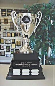 FANTASY BASEBALL TROPHY 3 TIER LARGE METAL CUP PERPETUAL AWARD 38 YEAR M*DAK113B
