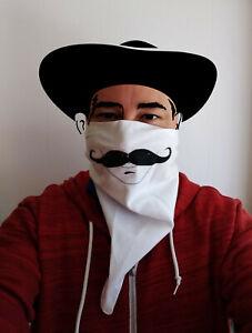 "Mustache Bandana 100% Cotton Square 21"" x 21"" White Ready to Ship USA Seller"
