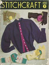 STITCHCRAFT MAGAZINE APR 1952 VINTAGE ORIGINAL CRAFT SEWING KNITTING PATTERNS
