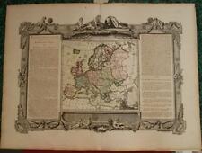 EUROPEAN CONTINENT 1766 BRION DE LA TOUR & DESNOS ANTIQUE COPPER ENGRAVED MAP