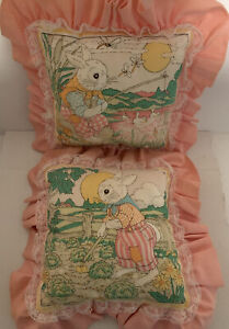 2-Vintage Handmade Cute Easter Pillows