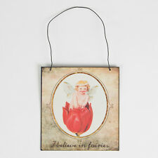 Sass & Belle Fairy Vintage Style Hanging Plaque I Believe in Fairies 14 X 15 Cm