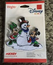 Disney Embroidered Patch Mickey & Minnie Mouse Building Snowman Winter Christmas