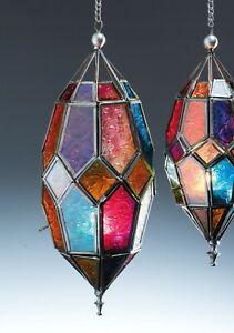 MOROCCAN HANGING MULTI COLOURED GLASS LANTERN TEA LIGHT HOLDER home decor