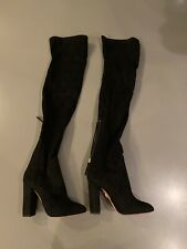 Aquazzura Black Suede Over The Knee Boots NWOB £795 Size 36.5