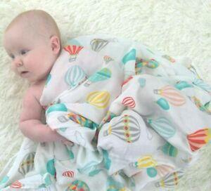 120cm Muslin Newborn Baby Sleeping Wrap Bamboo Cotton Soft Swaddle HotAirBalloon