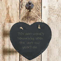 Personalised Gift Memories Child 1st Writing On Slate Hanging Sign Plaque