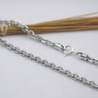 New Real S925 Sterling Silver Chain Women Men 3mm Square O Link Necklace 20inch