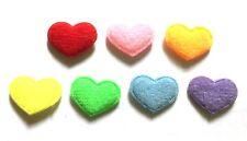 100 Pcs Small plain felt Heart Padded Appliques Mix Colors Size 10 mm X 15 mm