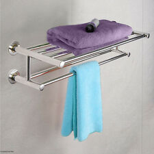Double Towel Rail Holder Wall Mounted Bathroom Rack Shelf Stainless Steel FDS UK