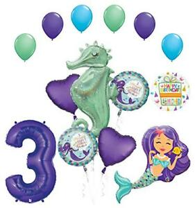 Mermaid Wishes and Seahorse 3rd Birthday Party Supplies Balloon Bouquet