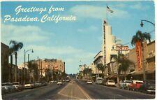 """PASADENA CALIFORNIA CA """"COLORADO BLVD W/ 1950'S CARS""""UNUSED POSTCARD 1967 CANCEL"""