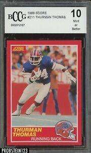 1989 Score Football #211 Thurman Thomas Buffalo Bills RC Rookie BCCG 10