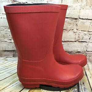 206 Collective Women's Crimson Red Rubber Pull On Rain Boots Size 6 B