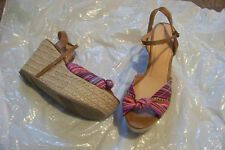 womens xhilaration multi printed wedge heels shoes size 8 1/2