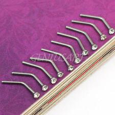 10x Lots Mix Steel Rhinestone Nose Studs Ring Bone Bar Pin Piercing Jewelry Gift