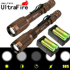 2 Sets 8000LM CREE XML T6 LED Flashlight Torch Lamp + 18650 Battery & Charger WT