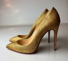 Christian Louboutin Pigalle Follies 100 Glitter Mini Gold Heels Pumps Euro 35