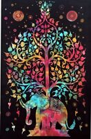Tagesdecke Wandbehang Elefant Baum Leben Bettüberwurf Indien Baumwolle Dekotuch
