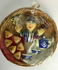GUATEMALAN MEXICAN PAPER FOLKS ART CRAFT DOLL IN WICKER TRAY