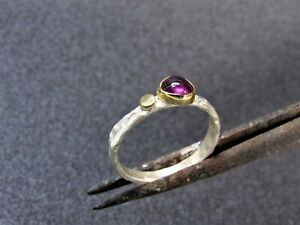 Amethyst ring. Sterling silver and 18k Yellow gold ring with Purple Amethyst