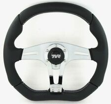 Genuine Momo Trek R 350mm black leather steering wheel for TVR with horn button.