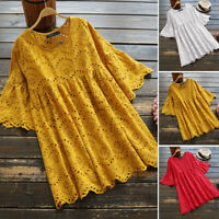 ZANZEA 8-24 Women Bell Sleeve Eyelets Floral Top Tee T Shirt Plus Size Blouse
