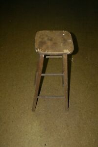 Vintage 4 Leg Wood Stool Bar  Kitchen Shop 29.5 Inch Tall
