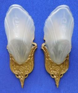 Fine Art Deco Pair of Frosted Glass Wall Sconce Light Shades Metal Mounts