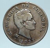 1932 COLUMBIA Simon Bolivar Eagle Shield Genuine Silver 50 Centavos Coin i83198