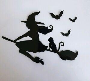 1x Witch Broomstick Bat Cat Car Van Vinyl Stickers Decal Window Halloween Black