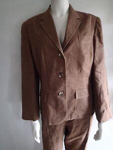 ralph lauren 2PC,brown  BLAZER , suit, Jacket,pants SZ 14, LINEN po