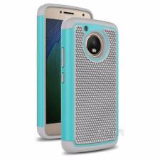 Motorola Moto G5 Rubber Dual Layer Impact Shockproof Hybrid Case - Teal / Gray
