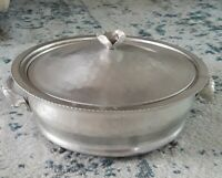 Vintage Continental Silver Co. Service Hammered Aluminum Casserole Dish Rose Top