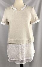 Anthropologie Postmark Beige White Layered Top Tunic Size Large Sweatshirt