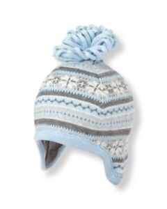 Janie and Jack Unisex Boy Girl Earflap Hat Blue Fair Isle Holiday Cotton 3-6