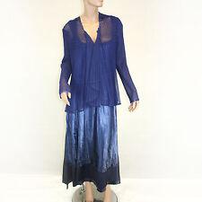 NWOT Komarov Woman Plus Size Formal Pleated Royal Blue Gown Dress Wrap Set 2X